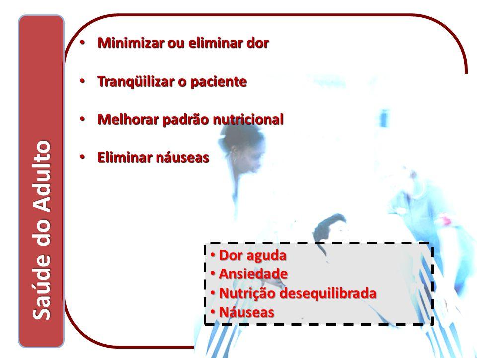 Saúde do Adulto Minimizar ou eliminar dor Tranqüilizar o paciente