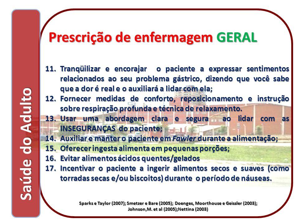 Saúde do Adulto Prescrição de enfermagem GERAL
