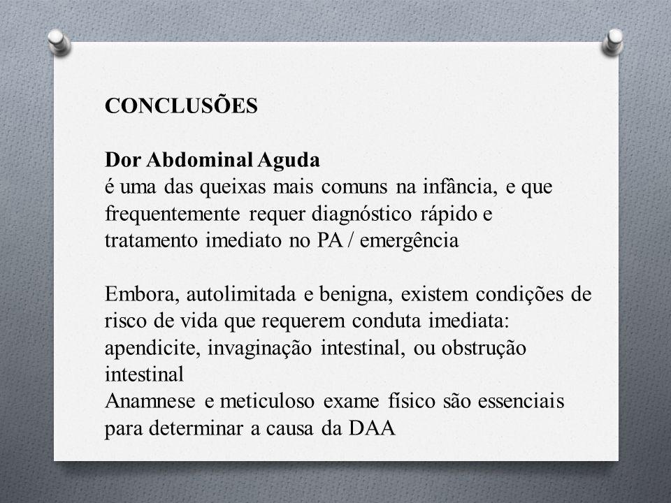 CONCLUSÕES Dor Abdominal Aguda.