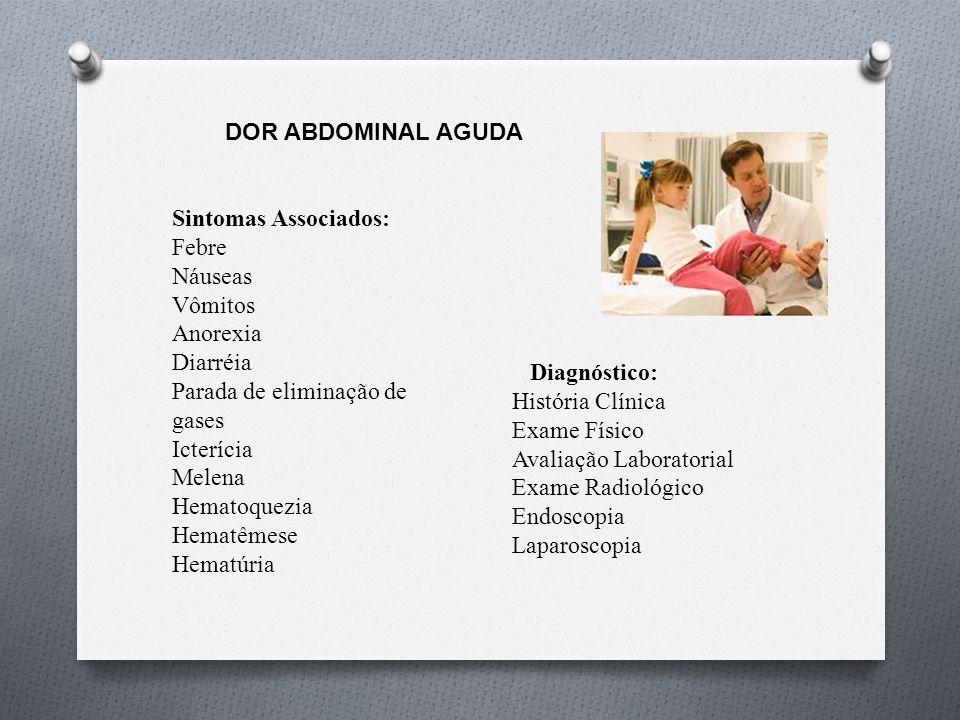 DOR ABDOMINAL AGUDA Sintomas Associados: Febre. Náuseas. Vômitos. Anorexia. Diarréia. Parada de eliminação de gases.