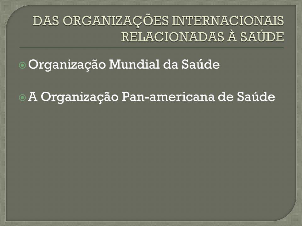 DAS ORGANIZAÇÕES INTERNACIONAIS RELACIONADAS À SAÚDE