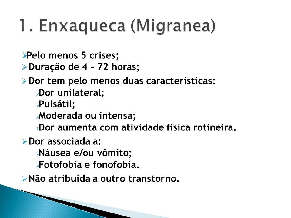 1. Enxaqueca (Migranea) Pelo menos 5 crises; Duração de 4 - 72 horas;