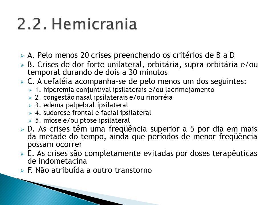 2.2. Hemicrania A. Pelo menos 20 crises preenchendo os critérios de B a D.