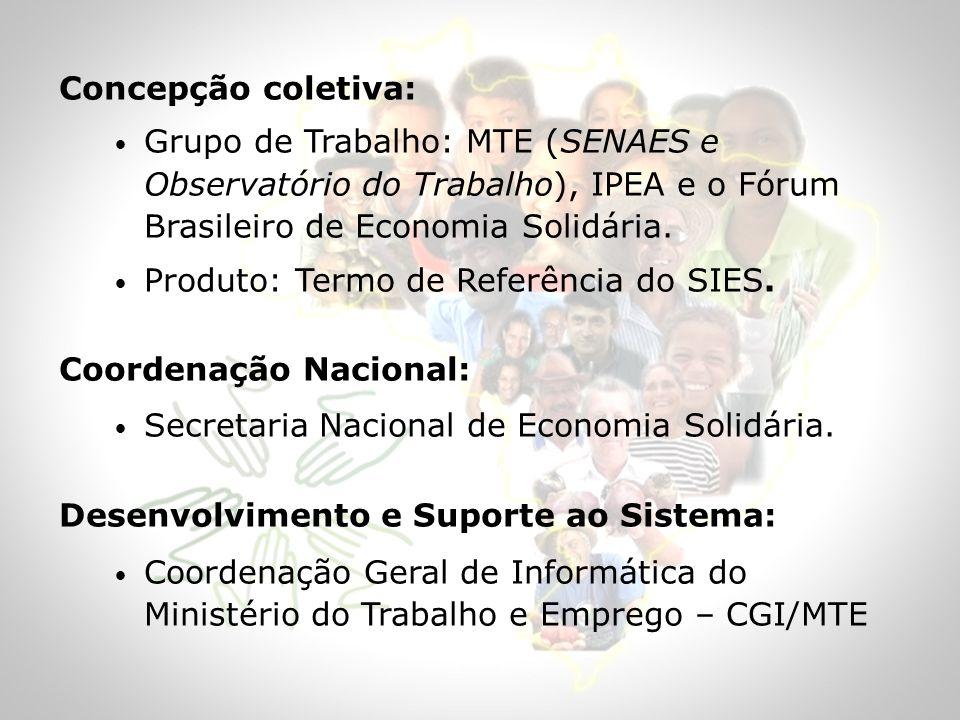 Concepção coletiva:Grupo de Trabalho: MTE (SENAES e Observatório do Trabalho), IPEA e o Fórum Brasileiro de Economia Solidária.