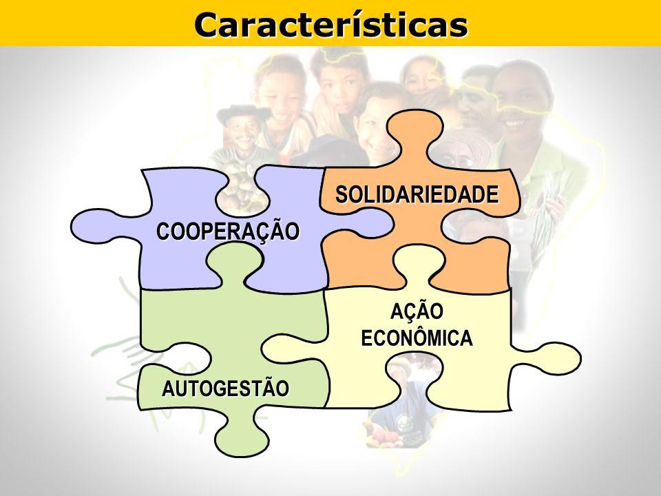 Características COOPERAÇÃO AÇÃO ECONÔMICA SOLIDARIEDADE AUTOGESTÃO