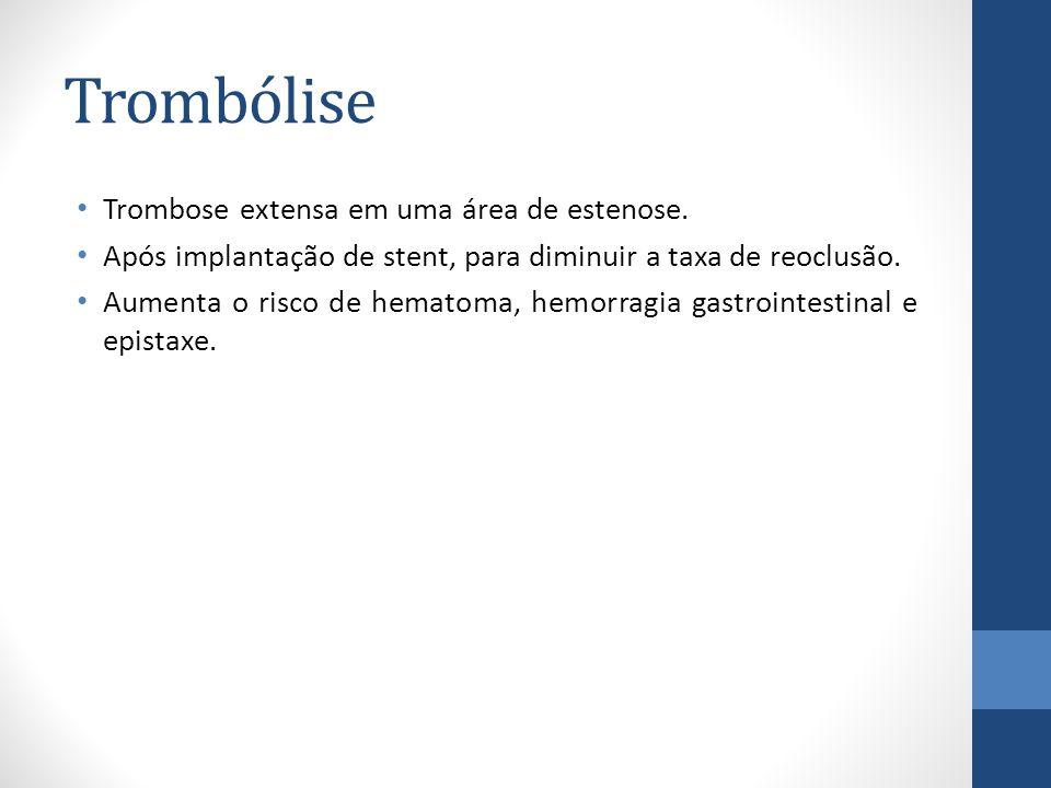 Trombólise Trombose extensa em uma área de estenose.