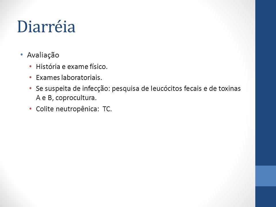 Diarréia Avaliação História e exame físico. Exames laboratoriais.