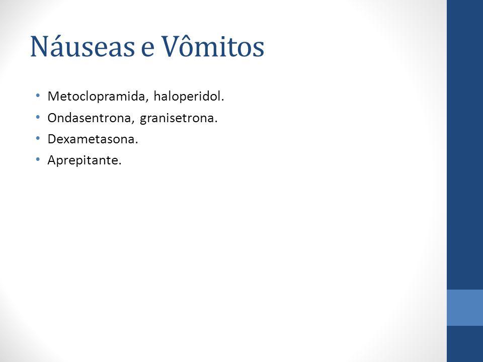 Náuseas e Vômitos Metoclopramida, haloperidol.