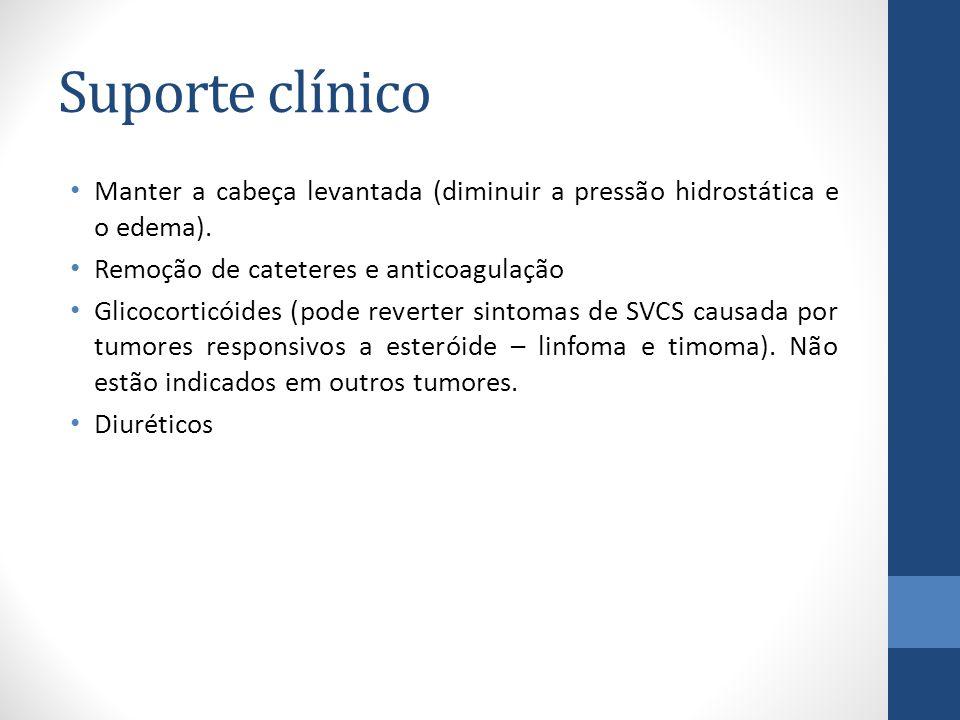 Suporte clínico Manter a cabeça levantada (diminuir a pressão hidrostática e o edema). Remoção de cateteres e anticoagulação.