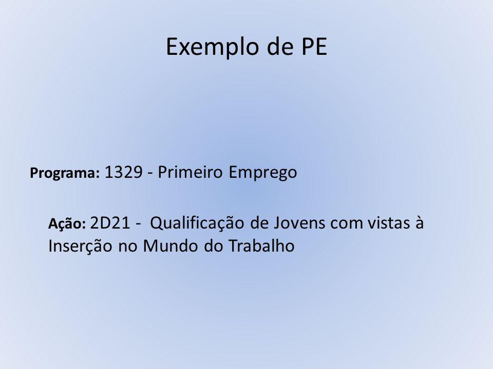 Exemplo de PE Programa: 1329 - Primeiro Emprego