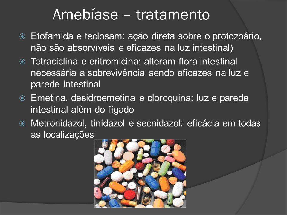 Amebíase – tratamento Etofamida e teclosam: ação direta sobre o protozoário, não são absorvíveis e eficazes na luz intestinal)