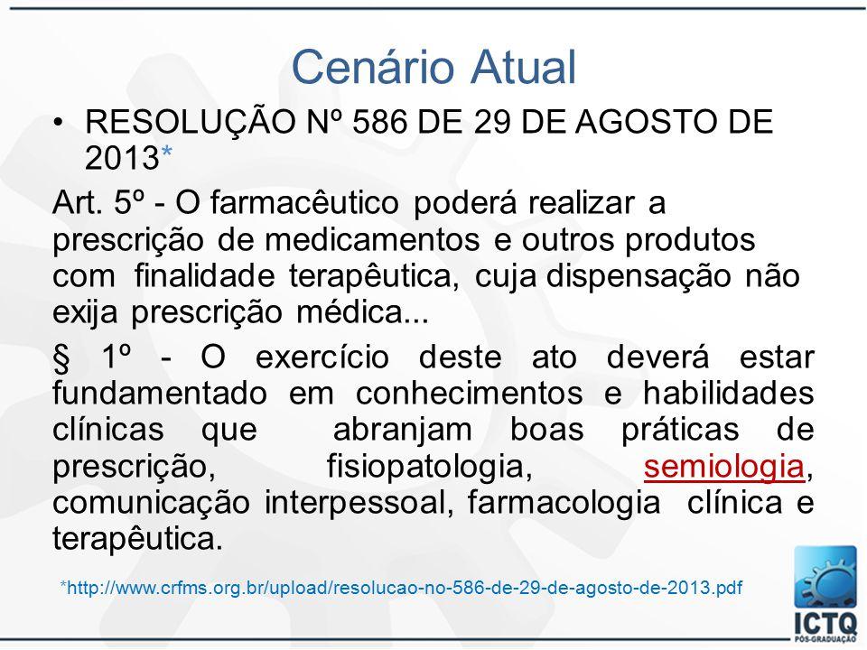 Cenário Atual RESOLUÇÃO Nº 586 DE 29 DE AGOSTO DE 2013*