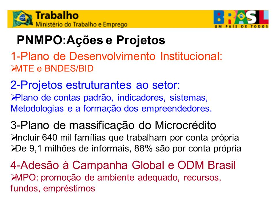 PNMPO:Ações e Projetos