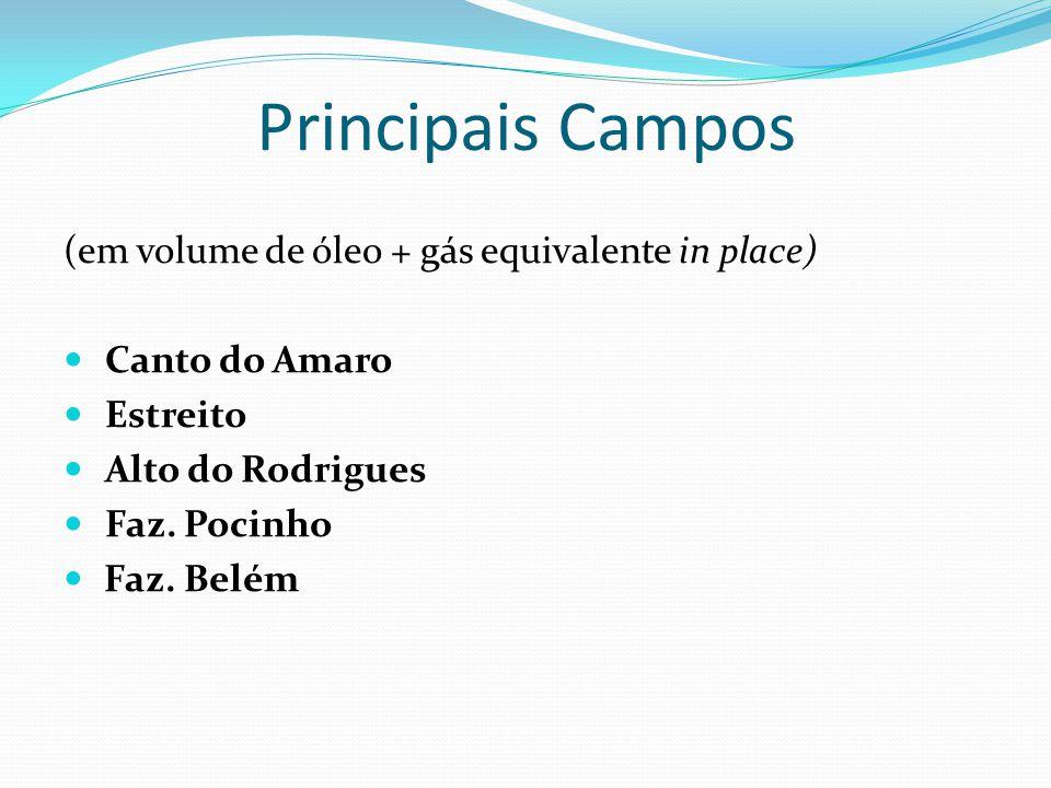 Principais Campos (em volume de óleo + gás equivalente in place)
