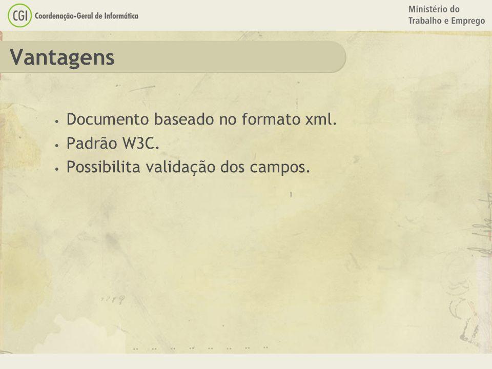 Vantagens Documento baseado no formato xml. Padrão W3C.