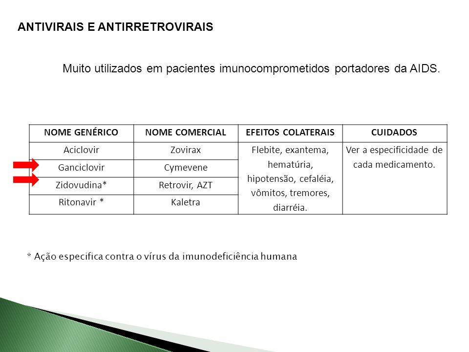 Ver a especificidade de cada medicamento.