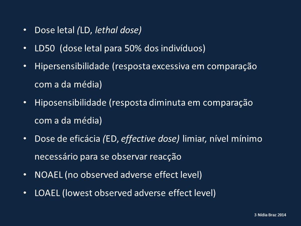 Dose letal (LD, lethal dose) LD50 (dose letal para 50% dos indivíduos)