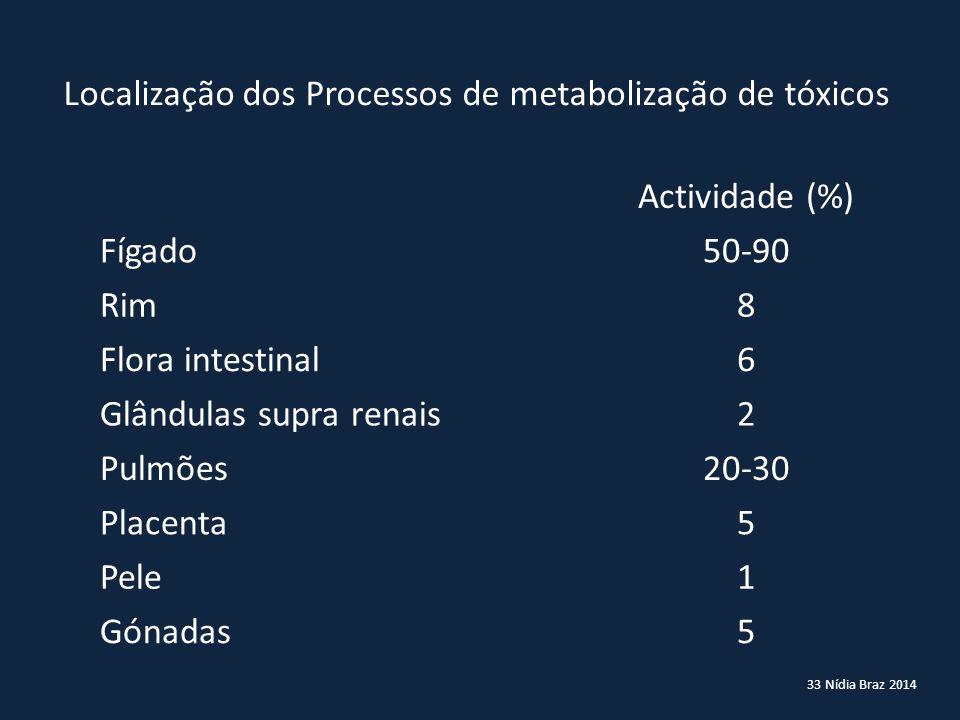 Localização dos Processos de metabolização de tóxicos