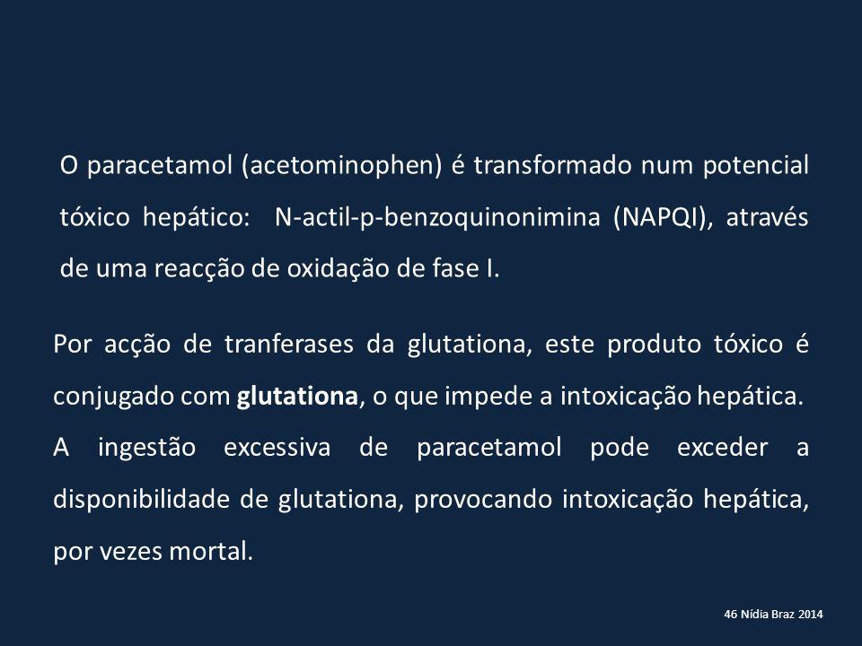 O paracetamol (acetominophen) é transformado num potencial tóxico hepático: N-actil-p-benzoquinonimina (NAPQI), através de uma reacção de oxidação de fase I.