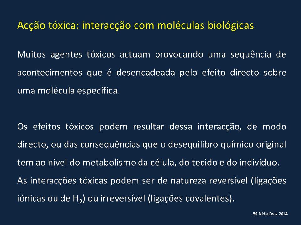 Acção tóxica: interacção com moléculas biológicas