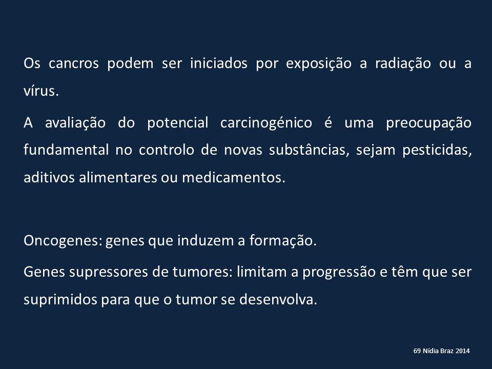 Os cancros podem ser iniciados por exposição a radiação ou a vírus.