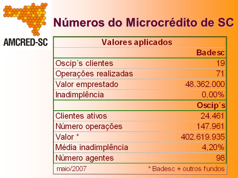 Números do Microcrédito de SC