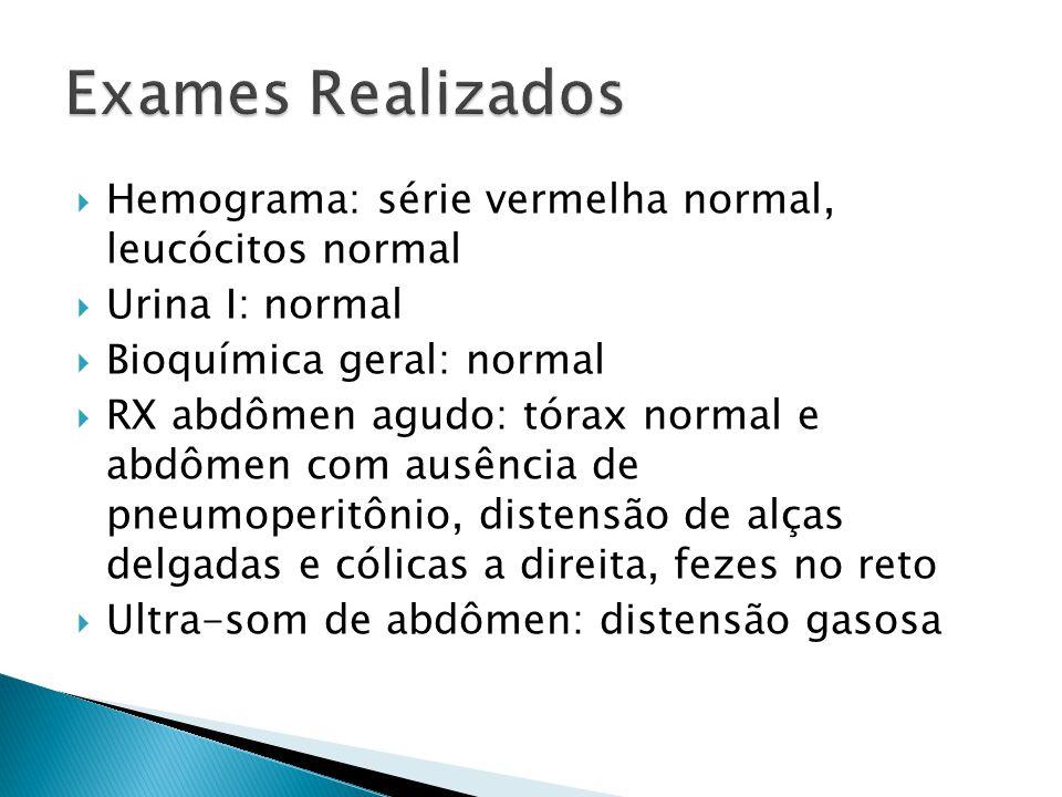 Exames Realizados Hemograma: série vermelha normal, leucócitos normal