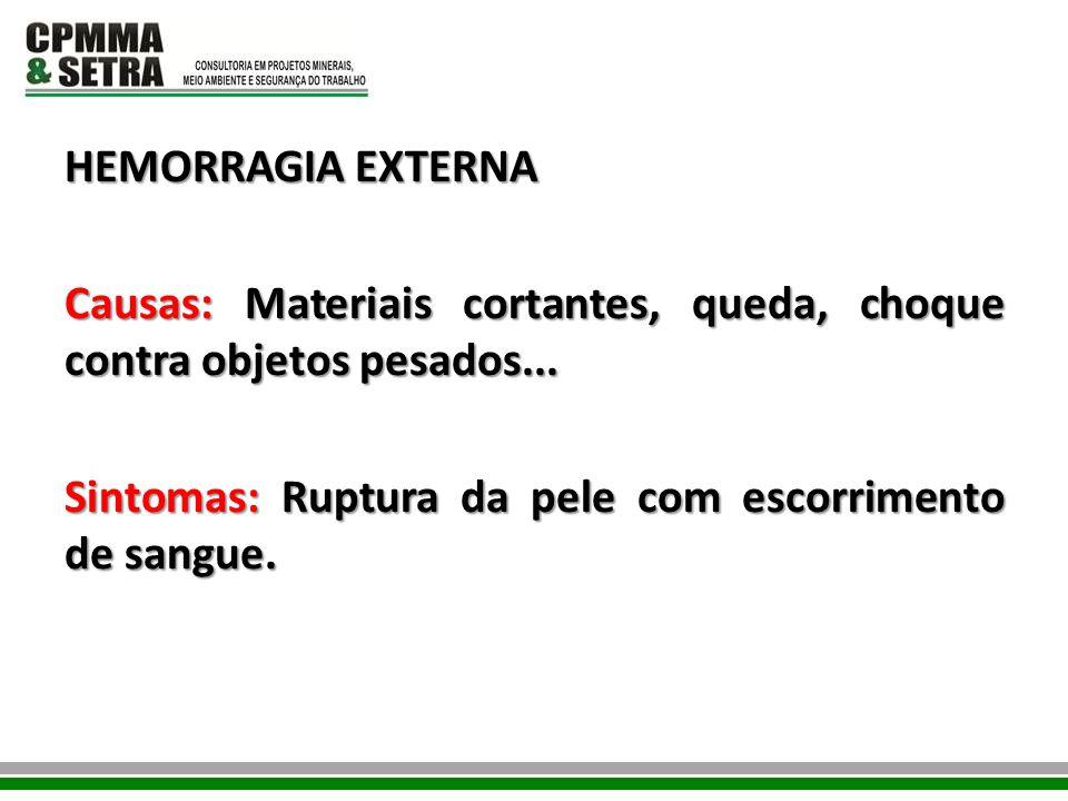 HEMORRAGIA EXTERNA Causas: Materiais cortantes, queda, choque contra objetos pesados...