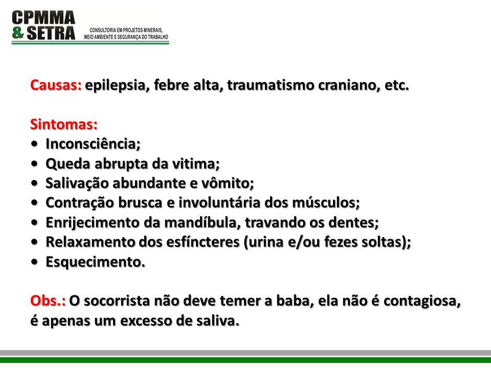 Causas: epilepsia, febre alta, traumatismo craniano, etc.