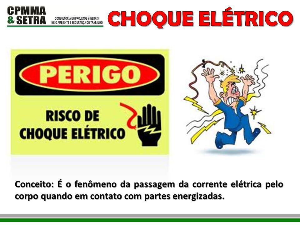 CHOQUE ELÉTRICO Conceito: É o fenômeno da passagem da corrente elétrica pelo corpo quando em contato com partes energizadas.