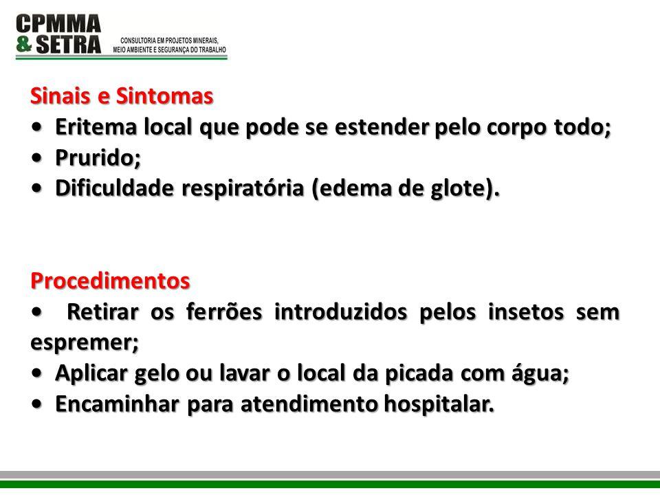 Sinais e Sintomas • Eritema local que pode se estender pelo corpo todo; • Prurido; • Dificuldade respiratória (edema de glote).