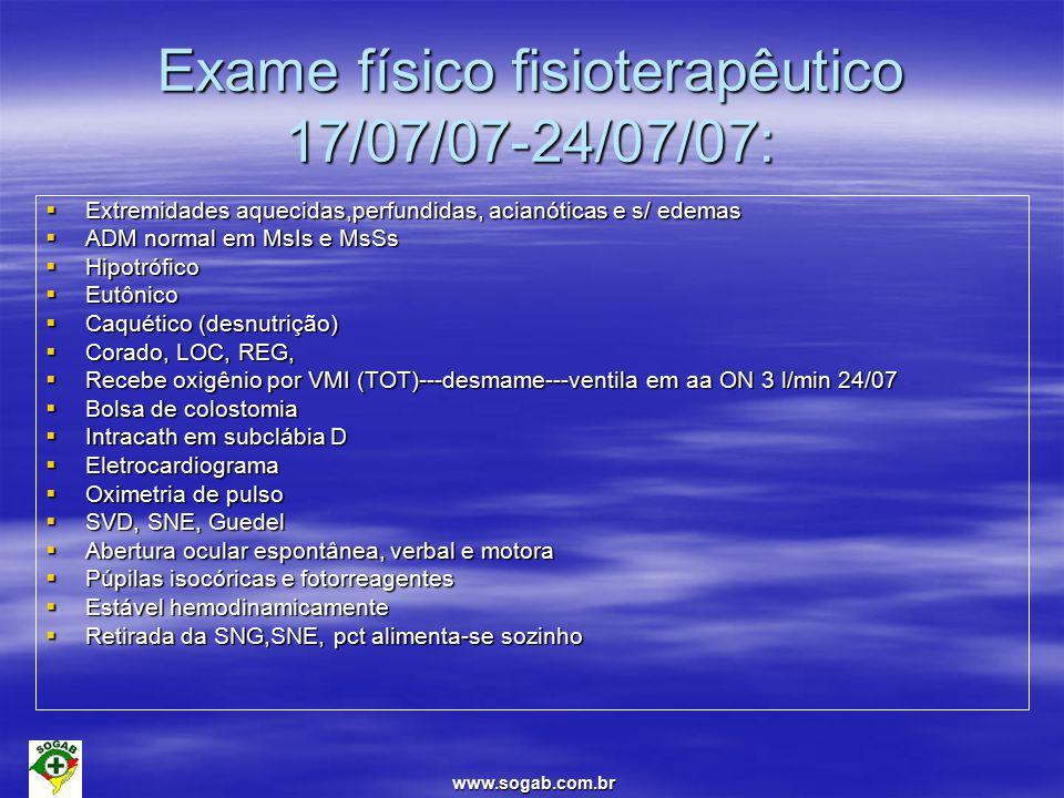 Exame físico fisioterapêutico 17/07/07-24/07/07: