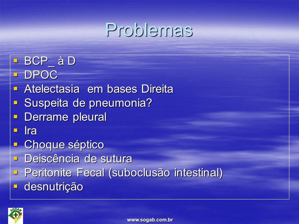 Problemas BCP_ à D DPOC Atelectasia em bases Direita