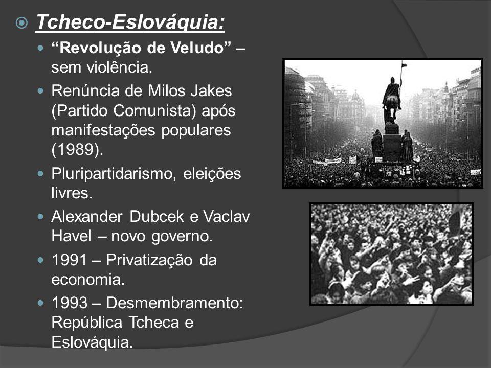 Tcheco-Eslováquia: Revolução de Veludo – sem violência.