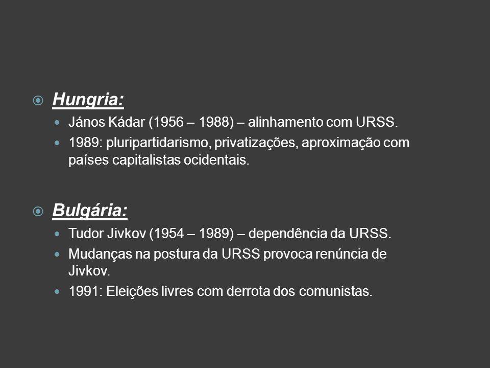Hungria: Bulgária: János Kádar (1956 – 1988) – alinhamento com URSS.