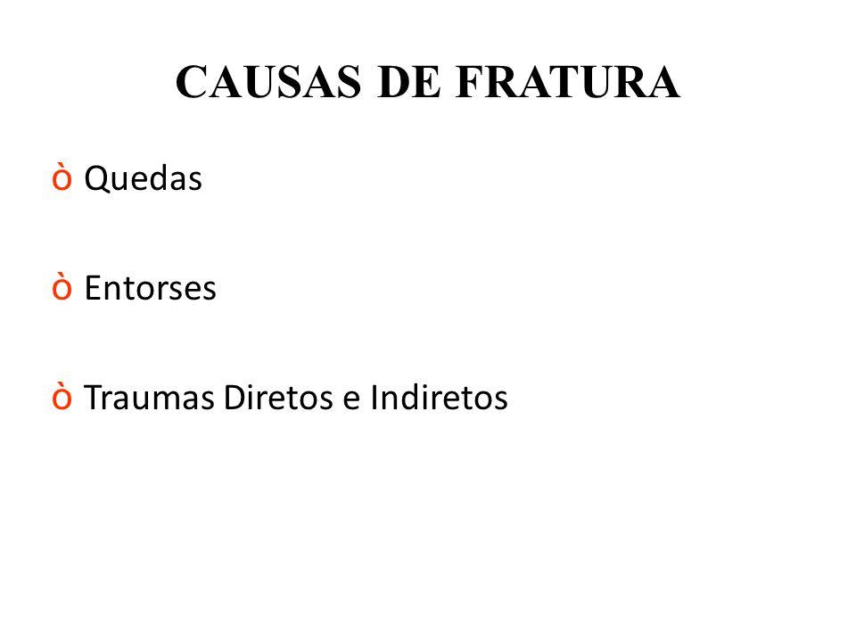 CAUSAS DE FRATURA Quedas Entorses Traumas Diretos e Indiretos
