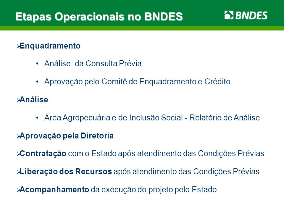Etapas Operacionais no BNDES