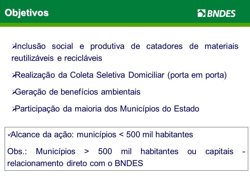 ObjetivosInclusão social e produtiva de catadores de materiais reutilizáveis e recicláveis.