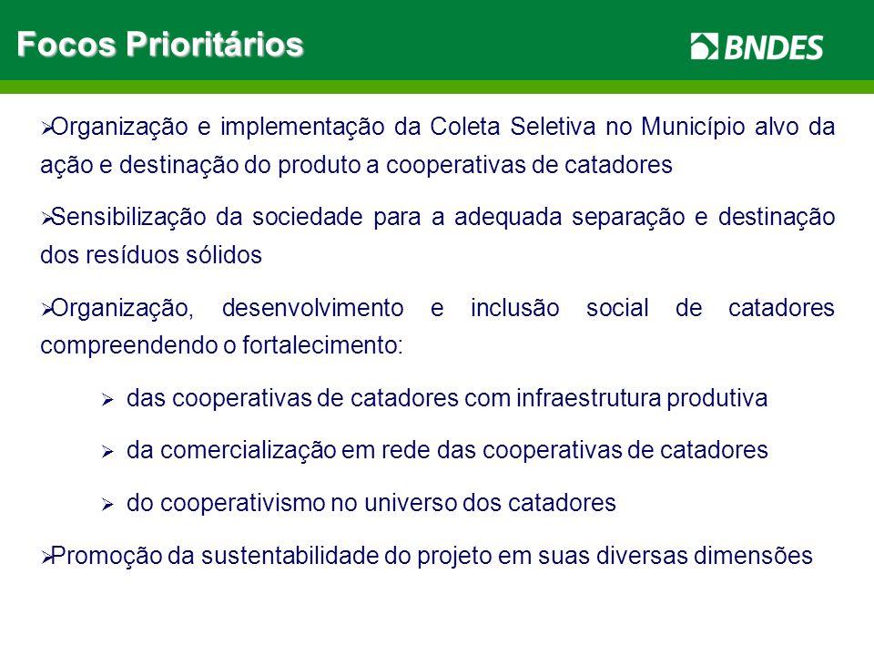 Focos Prioritários Organização e implementação da Coleta Seletiva no Município alvo da ação e destinação do produto a cooperativas de catadores.