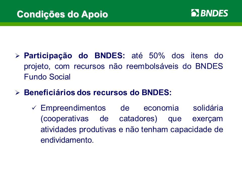 Condições do ApoioParticipação do BNDES: até 50% dos itens do projeto, com recursos não reembolsáveis do BNDES Fundo Social.