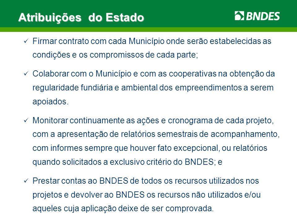 Atribuições do EstadoFirmar contrato com cada Município onde serão estabelecidas as condições e os compromissos de cada parte;