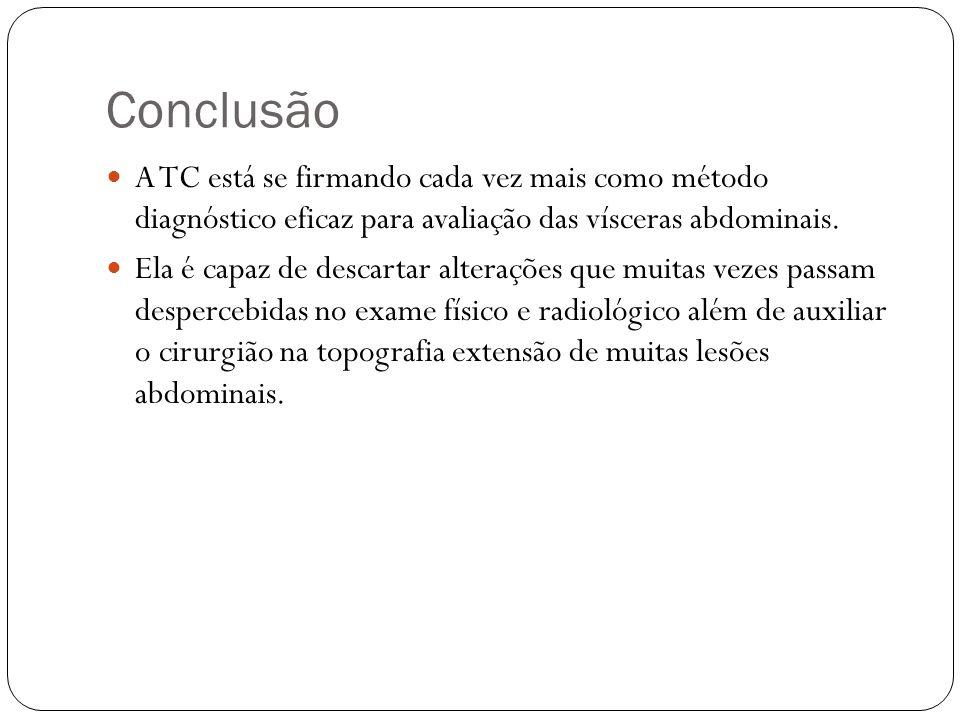 Conclusão A TC está se firmando cada vez mais como método diagnóstico eficaz para avaliação das vísceras abdominais.