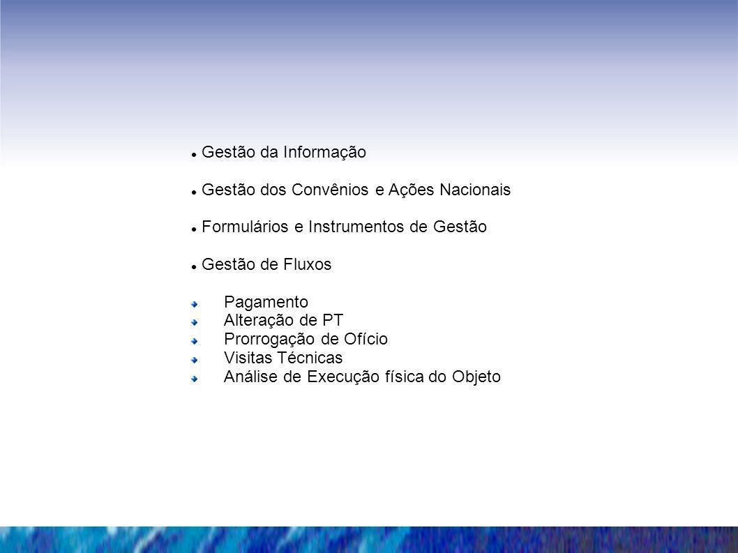 Gestão da InformaçãoGestão dos Convênios e Ações Nacionais. Formulários e Instrumentos de Gestão. Gestão de Fluxos.