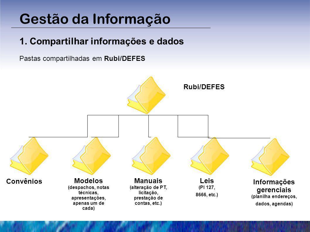Gestão da Informação 1. Compartilhar informações e dados