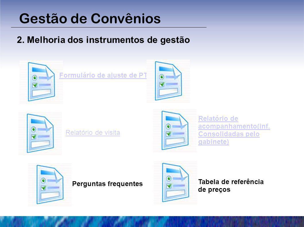 Gestão de Convênios 2. Melhoria dos instrumentos de gestão