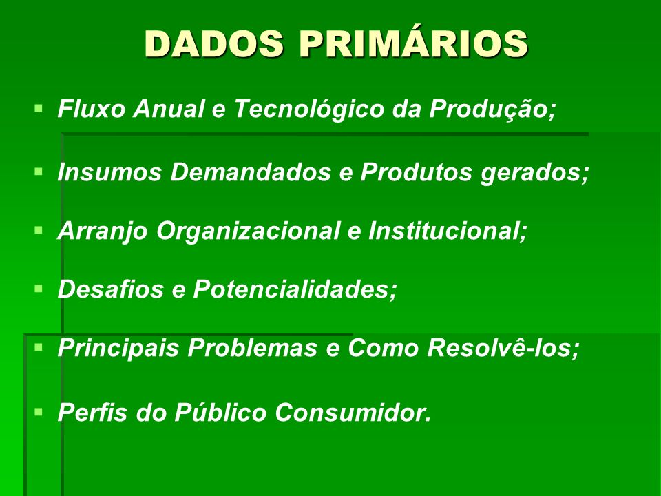 DADOS PRIMÁRIOS Fluxo Anual e Tecnológico da Produção;