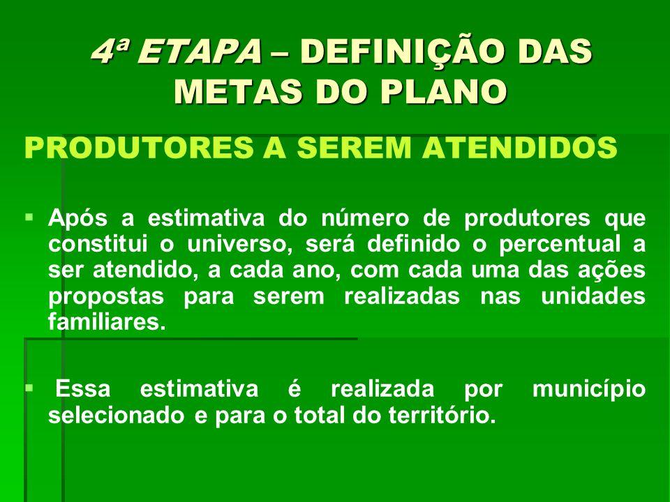 4ª ETAPA – DEFINIÇÃO DAS METAS DO PLANO