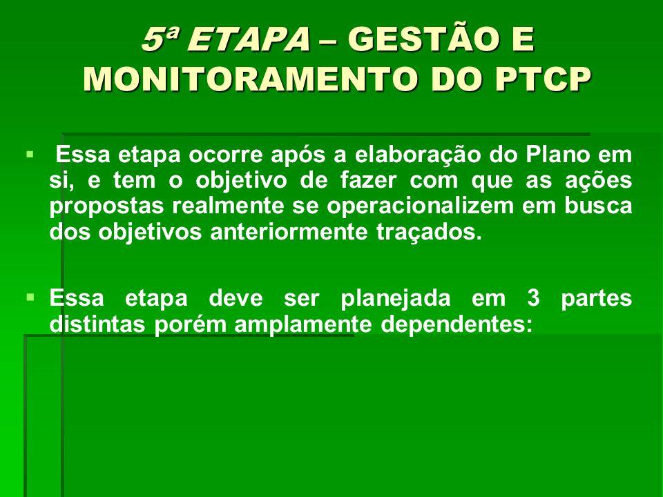 5ª ETAPA – GESTÃO E MONITORAMENTO DO PTCP