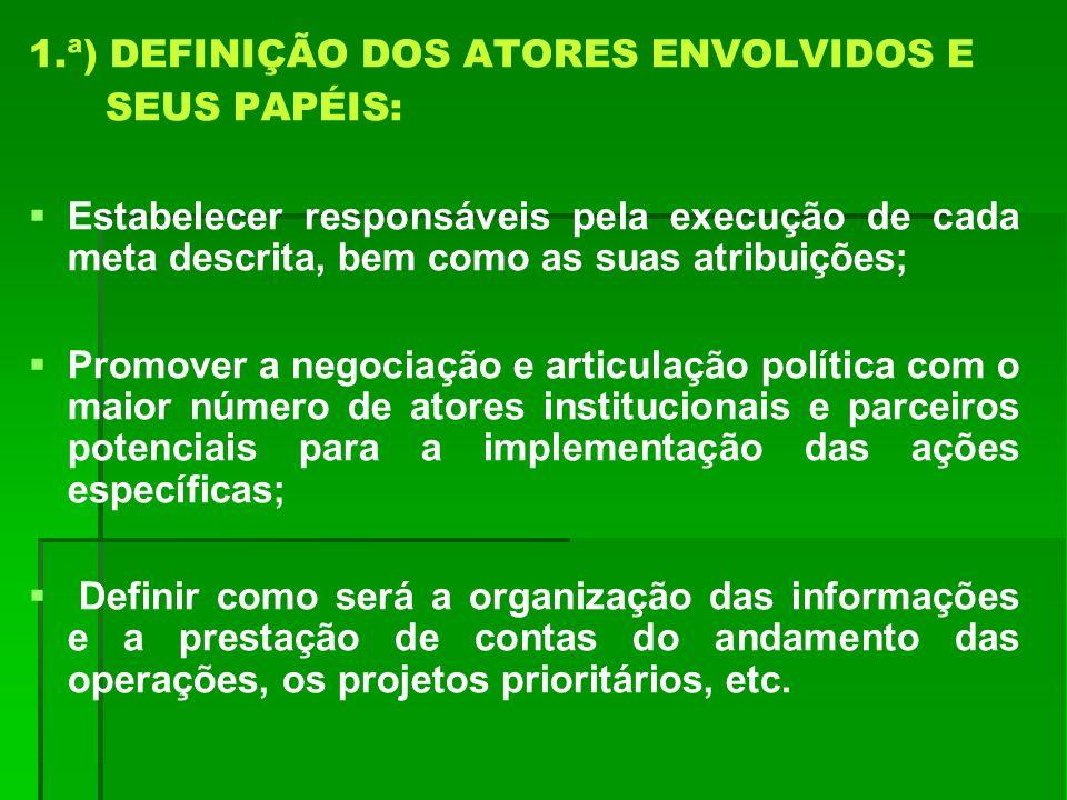 1.ª) DEFINIÇÃO DOS ATORES ENVOLVIDOS E