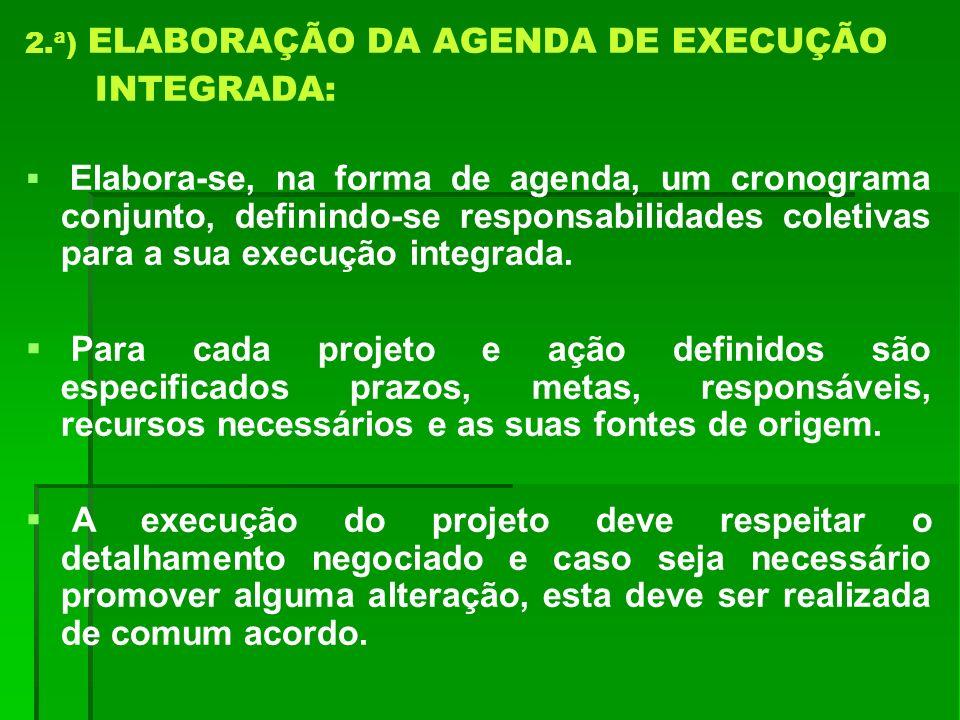 2.ª) ELABORAÇÃO DA AGENDA DE EXECUÇÃO